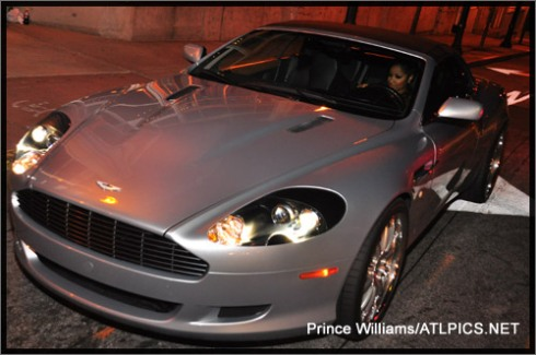 Toya pulled up in her silver Aston Martin