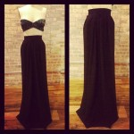 black luxury maxi skirt