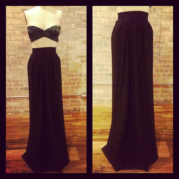 black luxury maxi skirt